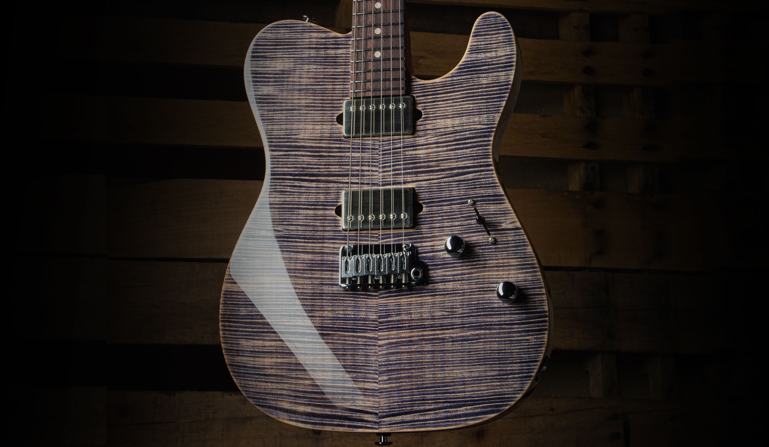 Flame Maple Top with Trans Blue Denim Slate Finish